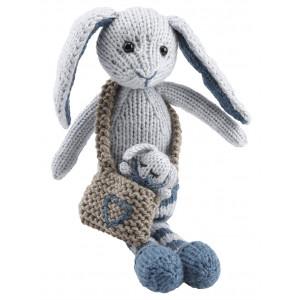 Go handmade Magnus og Bebs Kanin - Strikkekit Lyseblå og Petrol 23cm