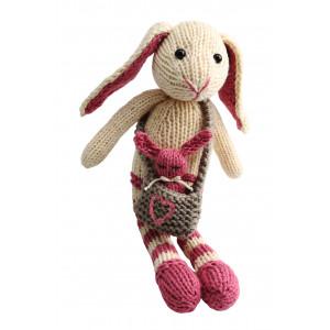 Go handmade Magnus og Bebs Kanin - Strikkekit Lyserød og Valnød 23cm