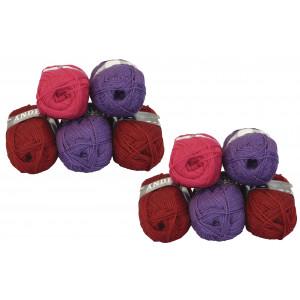 Mayflower Andes Garnpakke 10 nøgler Rød/Lilla - 10 stk