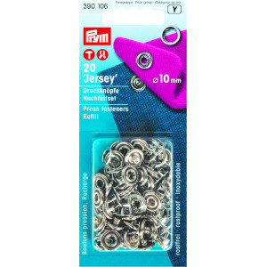Image of   Prym Jersey Trykknapper Refill Ring Sølv 10mm - 20 stk