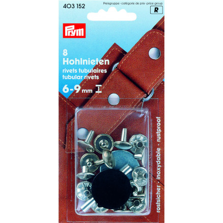 Image of   Prym Hulnitter Sølv 9mm til 6-9mm tykkelse - 8 stk