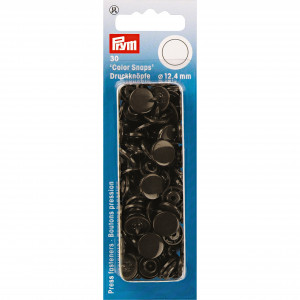 Image of   Prym Color Snaps Trykknapper Plast Rund Mørkebrun 12,4mm - 30 stk