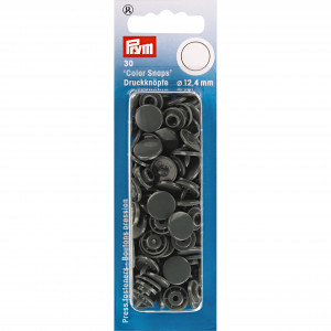 Image of   Prym Color Snaps Trykknapper Plast Rund Mørkegrå 12,4mm - 30 stk