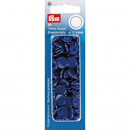 Image of   Prym Color Snaps Trykknapper Plast Rund Kongeblå 12,4mm - 30 stk