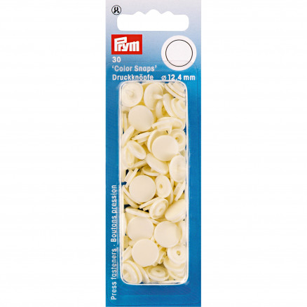 Image of   Prym Color Snaps Trykknapper Plast Rund Creme 12,4mm - 30 stk