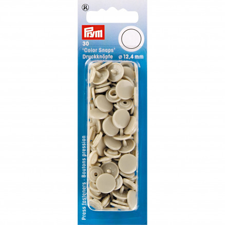 Image of   Prym Color Snaps Trykknapper Plast Rund Beige 12,4mm - 30 stk