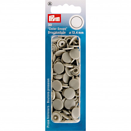 Image of   Prym Color Snaps Trykknapper Plast Rund Grå 12,4mm - 30 stk