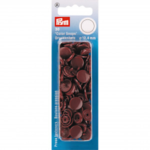 Image of   Prym Color Snaps Trykknapper Plast Rund Brun 12,4mm - 30 stk