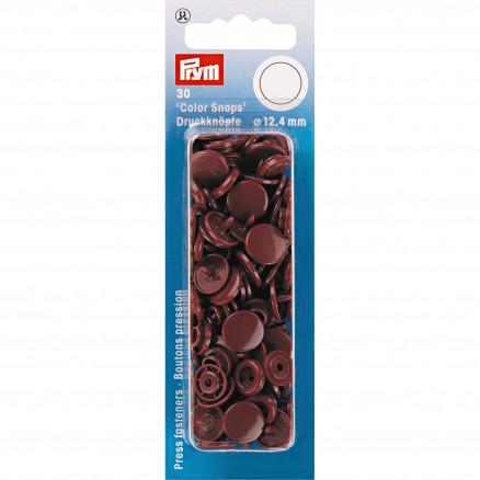 Image of   Prym Color Snaps Trykknapper Plast Rund Brun 12,4mm - 30 stk