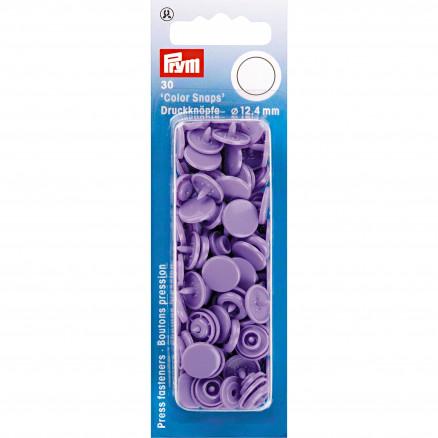 Image of   Prym Color Snaps Trykknapper Plast Rund Lavendel 12,4mm - 30 stk