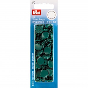 Image of   Prym Color Snaps Trykknapper Plast Rund Flaskegrøn 12,4mm - 30 stk