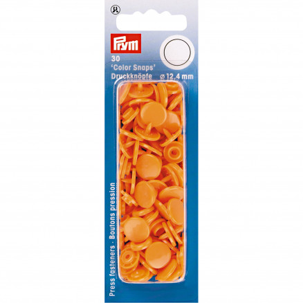 Image of   Prym Color Snaps Trykknapper Plast Rund Orange 12,4mm - 30 stk