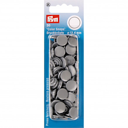 Image of   Prym Color Snaps Trykknapper Plast Rund Sølvgrå 12,4mm - 30 stk