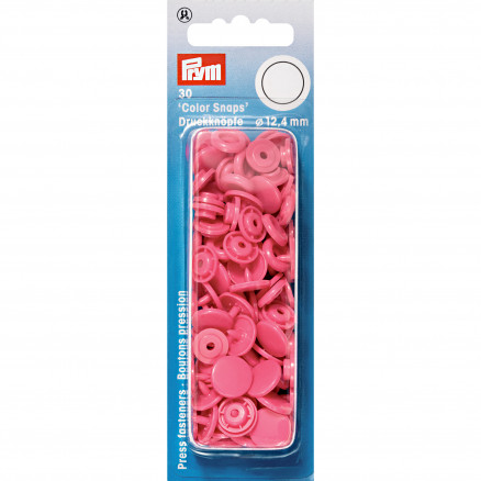 Image of   Prym Color Snaps Trykknapper Plast Rund Pink 12,4mm - 30 stk