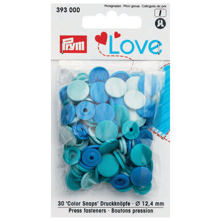 Image of   Prym Color Snaps Trykknapper Plast Rund 12,4mm Ass. Turkis - 30 stk