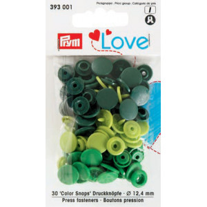 Image of   Prym Color Snaps Trykknapper Plast Rund 12,4mm Ass. Grøn - 30 stk