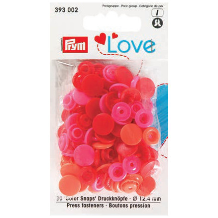 Image of   Prym Color Snaps Trykknapper Plast Rund 12,4mm Ass. Rød - 30 stk