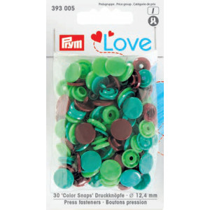 Prym Color Snaps Trykknapper Plast Rund 12,4mm Ass. Grøn/Brun - 30 stk