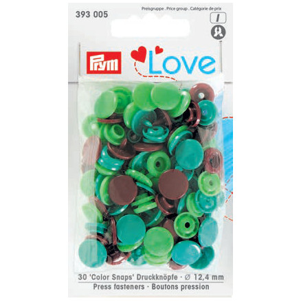 Image of   Prym Color Snaps Trykknapper Plast Rund 12,4mm Ass. Grøn/Brun - 30 stk