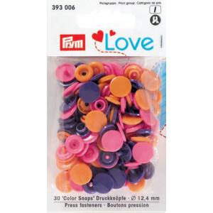 Prym Color Snaps Trykknapper Plast Rund 12,4mm Ass. Orange/Pink/Lilla - 30 stk