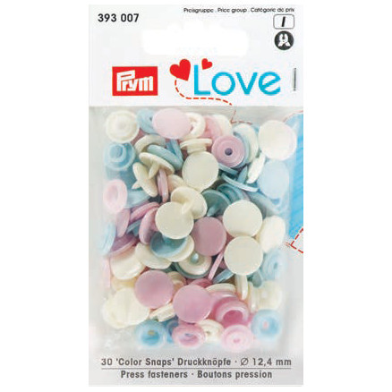 Image of   Prym Color Snaps Trykknapper Plast Rund 12,4mm Ass. Pastel - 30 stk