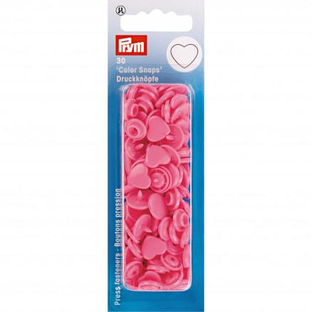 Image of   Prym Color Snaps Trykknapper Plast Hjerte Pink - 30 stk