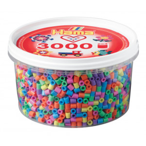 Hama Midi Perler Pastel Mix 50 Bøtte m. 3000 stk
