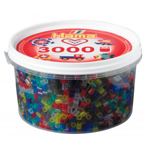 Hama Midi Perler Transparent Mix 53 Bøtte m. 3000 stk