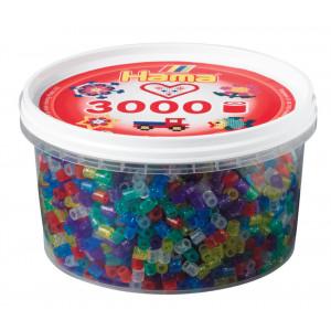 Hama Midi Perler Transparent Glitter Mix 54 Bøtte m. 3000 stk