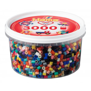 Hama Midi Perler Mix 67 Bøtte m. 22 Ass. farver - 3000 stk