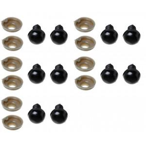 Infinity Hearts Sikkerhedsøjne / Amigurumi øjne Sort 14mm - 5 sæt