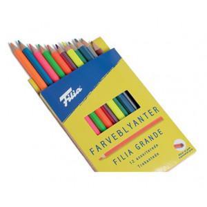 Filia Farveblyanter Ass. Neon/Metallic farver 4mm - 12 stk
