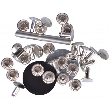 Image of   Prym Hulnitter Sølv 9mm til 4-6mm tykkelse - 15 stk