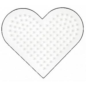 Hama Perleplade Hjerte Lille Hvid - 1 stk