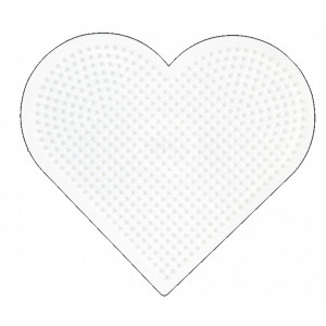 Hama Perleplade Hjerte Stor Hvid - 1 stk