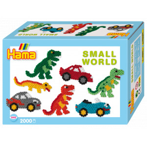 Image of   Hama Midi Gaveæske 3502 Small World Biler og Dinosaurer