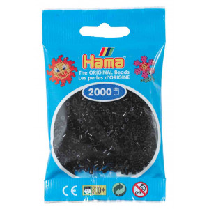 Image of   Hama Mini Perler 501-18 Sort - 2000 stk