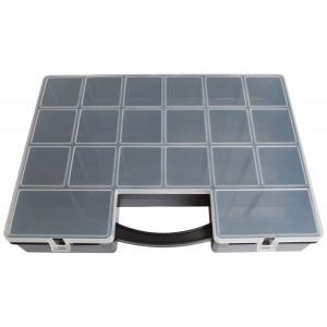 Plastboks til perler og knapper 8-22 rum 35,5x25,5x5,5cm