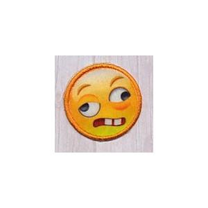 Strygemærke Emoji Smiley Crazy 3,5x3,5 cm - 1 stk