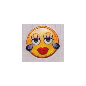 Strygemærke Emoji Smiley Lady 3,5x3,5 cm - 1 stk