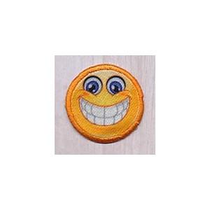 Strygemærke Emoji Smiley Big Smile 3,5x3,5 cm - 1 stk