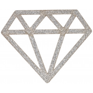 Strygemærke Diamant Sølv Glitter 6,8x5,5cm - 1 stk
