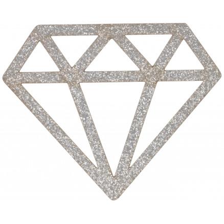 Image of   Strygemærke Diamant Sølv Glitter 6,8x5,5cm - 1 stk