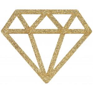 Strygemærke Diamant Guld Glitter 6,8x5,5cm - 1 stk