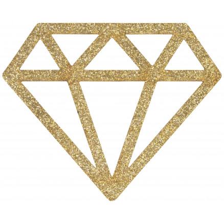 Image of   Strygemærke Diamant Guld Glitter 6,8x5,5cm - 1 stk