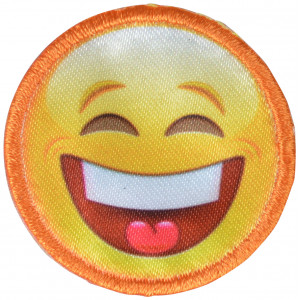 Image of   Strygemærke Emoji Smiley Grine 3,5x3,5 cm - 1 stk