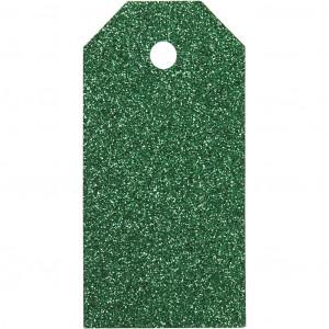 Manillamærker Glitter Grøn 5x10cm - 15 stk