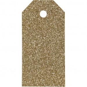 Manillamærker Glitter Guld 5x10cm - 15 stk