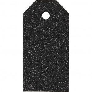 Manillamærker Glitter Sort 5x10cm - 15 stk