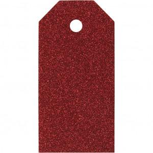 Manillamærker Glitter Rød 5x10cm - 15 stk